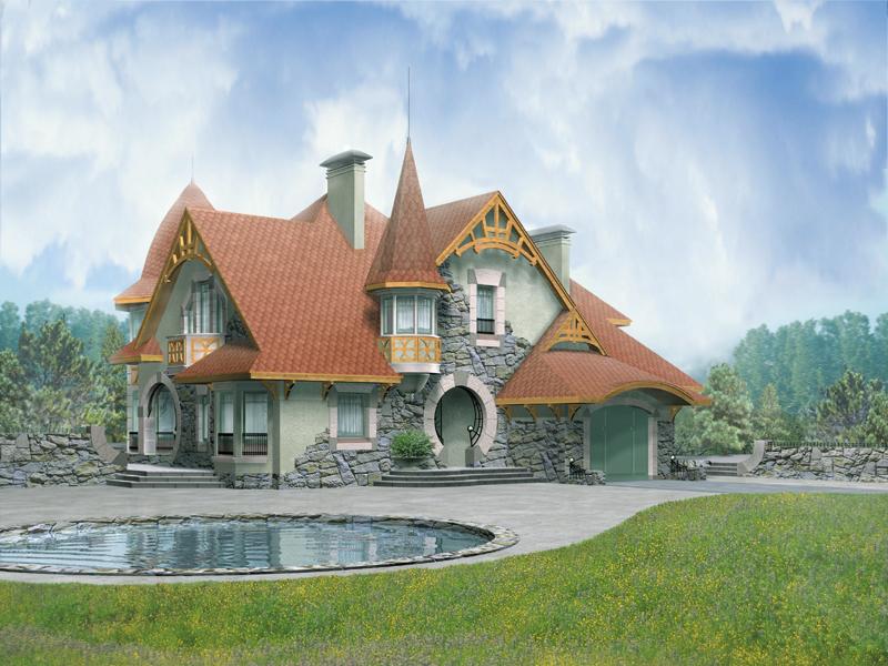 Кирпичный дом с мансардой и гаражом №60-250-Г